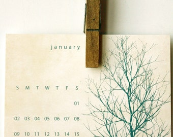 60% OFF SALE - Desk Calendar - 2016 - Trees - free gift box included