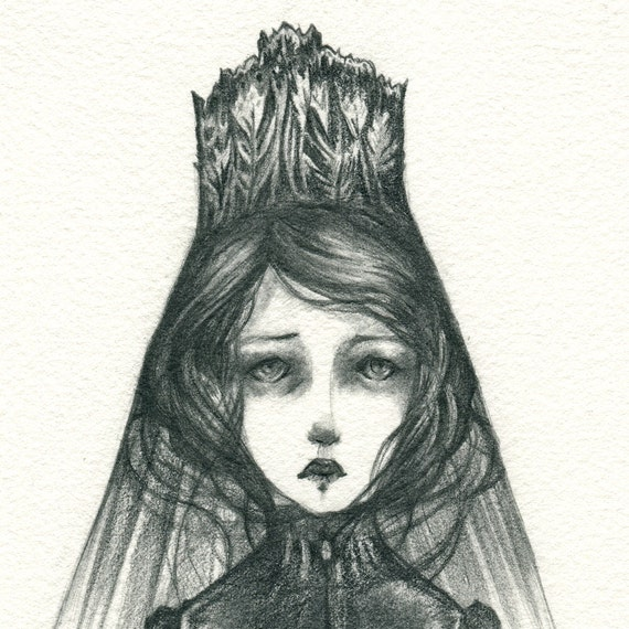 Original Drawing - The Mourning Bride