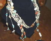 Southwest Look Macrame Necklace with Bone Scent Bottle, Turquoise, Coral, Many Quality Beads, Original Design