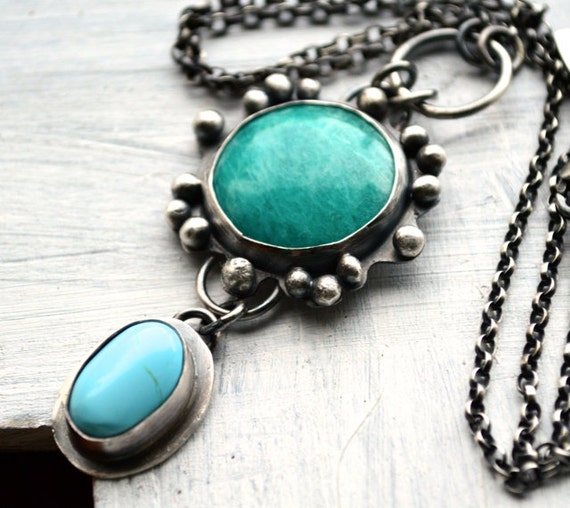20% Fall SALE - Use COUPON Code FALL2012 - Summer Time Amazonite and Arizona Turquoise Necklace  Bezel Necklace in Sterling Silver  Handmade