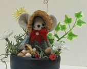Felt Mouse with Ladybugs in Terra Cotta Pot Gift for Gardeners handmade by Warmth