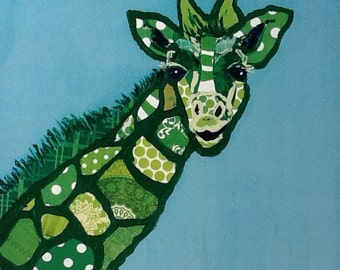 SALE Green Giraffe Limited Edition Print