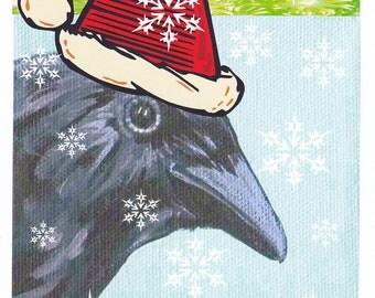 Crow raven Santa Christmas Card
