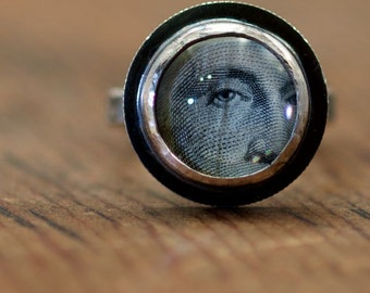 George's eyes ring  recycled sterling silver mercury dime George Washington portrait