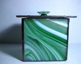 Tiffany Style Stained Glass Box, Candle Holder, Potpourri Holder, Decorative Glass Box, Green and White Swirl Box