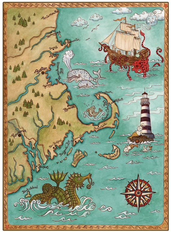 "New England Coastal Map Cape Cod Sea Monster Art Print 8"" x 10"""