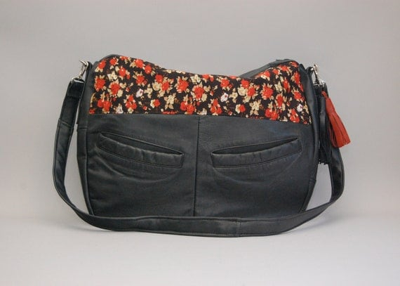 SALE // TUNDRA /// black leather and red blossom floral fabric