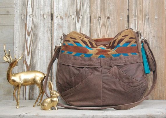 TUNDRA /// brown leather bag with navajo southwestern fabric