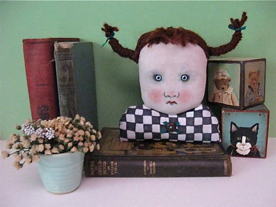 redhead art- ooak art doll head- creepy head- odd-stuffed pillow- weird- black and white- check