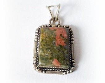 Vintage sterling pendant with Watermelon colored rustic stone Large heavy piece 925