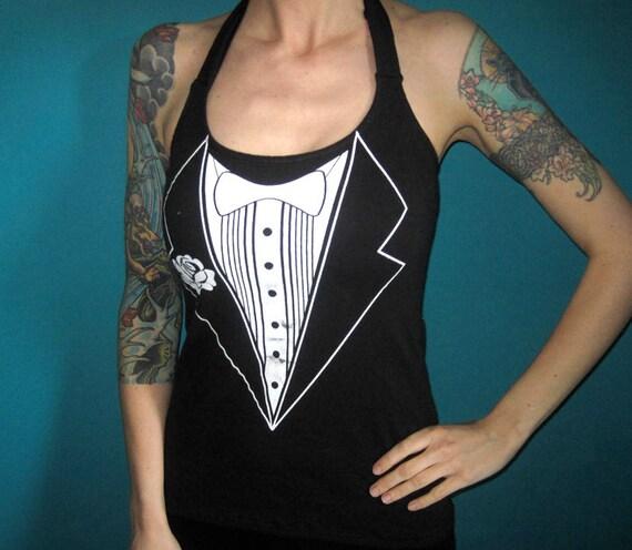 Tux tuxedo halter top punk made from a salvaged shirt Medium