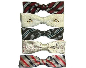 Vintage 5 Clip On Bow Ties ca 1940s Royal Ormond Shur On Instant Collection