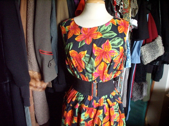 RESERVED for Mezzky Vintage 1940s style Black Tropical Floral DRESS Plus Size XL 2X