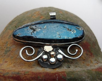 Sterling Silver and Gold Necklace with Blue Covellite Stone