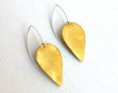 Brushed Brass Petal Drop Earrings- Sterling Silver and Brass