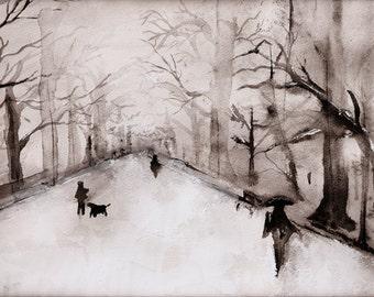 Glacial - Central Park Watercolor Art Print