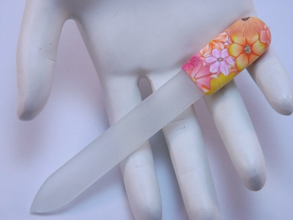 Handcrafted Polymer Clay Covered Glass Nail File, Orange, Yellow and Pink Millefiori Floral