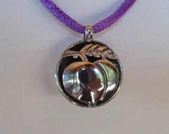 small Shadow Box   Peach  pendant  ....    Sterling SIlver ........................                  e320