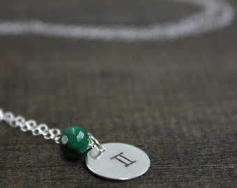 Birthstone Necklace - Zodiac Jewelry - May Gemini - Sterling Silver, Emerald - Zodiac Sign - Star Sign Necklace - Astrology Jewelry