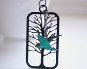 Black Tree Silhouette and Patina Teal Bird Pendant necklace Free USA Shipping
