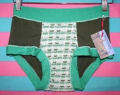 Unisex ALL SiZES vintage salvaged RoW YoUR BoAT print olive mint green HaNDMADE UNDeRWEAR