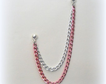 Cartilage Chain Earring - Double Chain - Pink and Silver