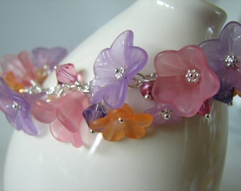 Lucite Flower Charm Bracelet Rose Pink and Purple on Sterling Silver