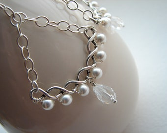Chandelier Earrings Crystal Pearl Sterling Silver