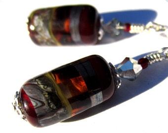Handcrafted Silver Red Lampwork Glass Bead Earrings sterling earwire
