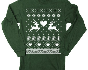 Mens Ugly Christmas Sweater Reindeer Long Sleeve T Shirt (Forest Green)
