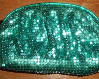 Eye-Popping Green Metal Mesh Wristlet Purse