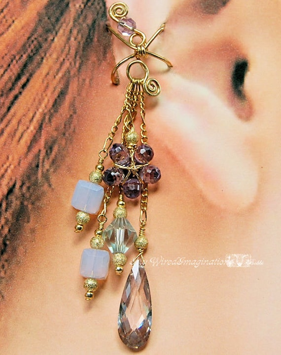 Purple Passion  - Wire Wrapped Ear Cuff in 14k Gold Filled and Swarovski Crystal - R-EC4