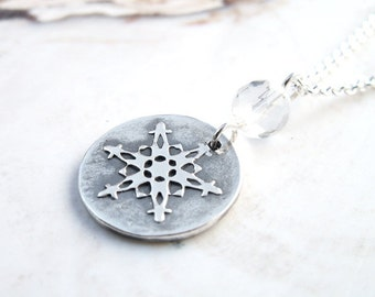ON SALE Small Snowflake Necklace faceted quartz crystal handmade unique .999 silver circle pendant ooak winter design .925 sterling chain