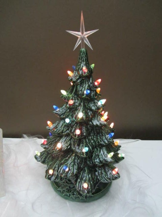 Tabletop vintage style lighted christmas tree by teresasceramics