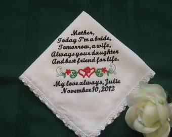 Embroidered Mother of the Bride Gift – Mother of the Bride Handkerchief – Wedding Handkerchief – Personalized Hankie137S