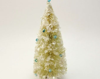 Vintage Style Bottlebrush Ivory Christmas Tree- Swarovski Blue Crystal Beads Wire Garland- Mica Flakes Snow