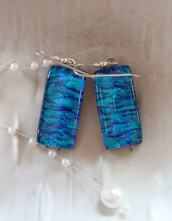 Fused Dichroic Glass Earrings, Dangle, Cobalt Blue, Aqua