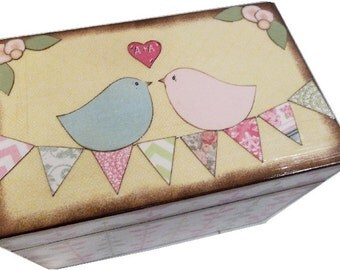 Wedding Guest Book Box Alternative  Birds, Bunting, Banner, Bridal Shower, Decoupaged Wedding Box, Large Box Holds 4x6 Cards, MADE T0 ORDER