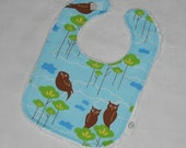 Couturier Stylized Blue Owls and Chenille Boutique Bib - SALE