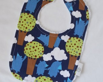 Blue Get Together Bears and Chenille Bib