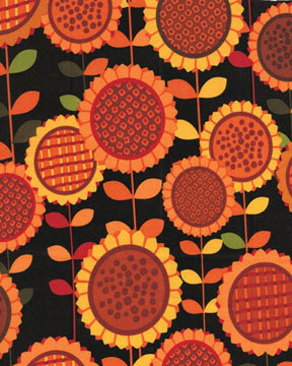 SUNFLOWER Daze Sunflower Fields Black  by Kavas Benartex, 1 Yard, SALE