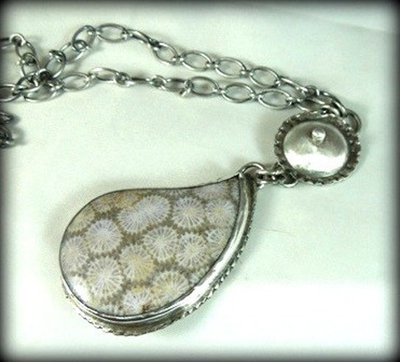 RESERVED FOR M Paisley Fossil Coral necklace sterling silver statement large pendant