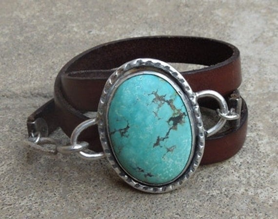 Turquoise and sterling silver wrap bracelet  with  large turquoise and natural leather