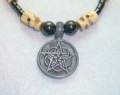Bone and Hematite Celtic  Pentacle Necklace