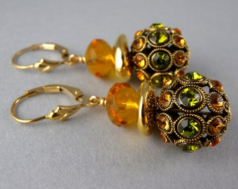 Vogue Swarovski Sunflower Jewels Fashion Earrings with Free USA Shipping
