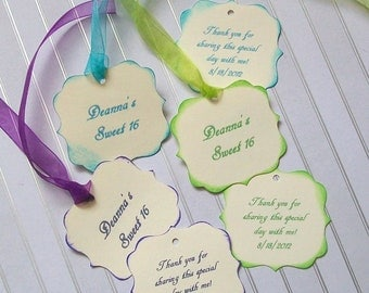 Favor or Treat Tags - Sweet 16 - Quinceanera - Double Sided and Personalized (set of 50)