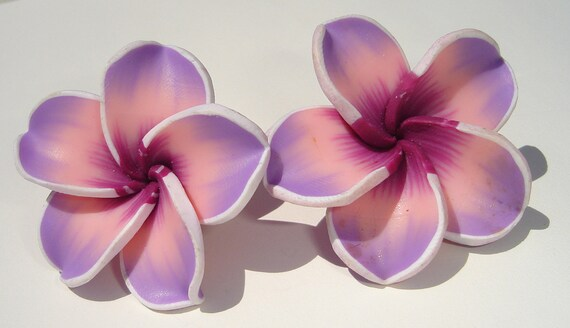 large sweet pink and purple and white polymer clay plumeria flower clip on earrings