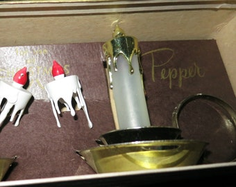 Old Christmas Salt and Pepper Candle Sticks