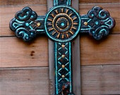 cast iron hand painted cross
