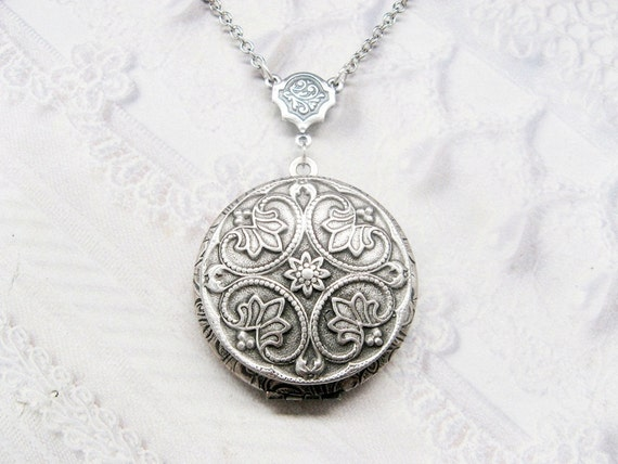 Silver Locket Necklace - Silver Victorian Locket - WEDDING Jewelry by BirdzNbeez - Wedding Birthday Bridesmaids Gift